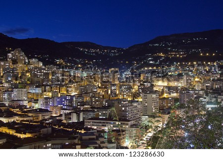 Principality of Monaco. Night panorama from a high point - stock photo