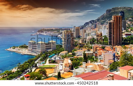 Principality of Monaco, seen inward. Cote d'Azur, architectural beauty. Old buildings perfect combined with skyscrapers- landscape picture.