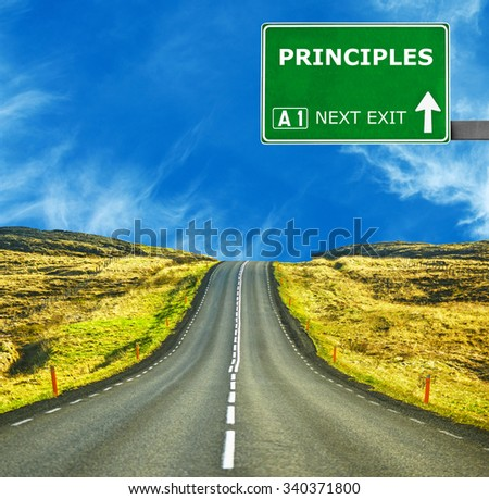 PRINCIPLES road sign against clear blue sky - stock photo