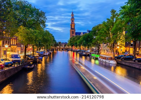 Prinsengracht Canal in Amsterdam at Twilight, the Netherlands - stock photo