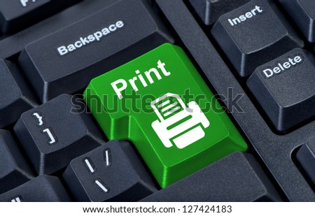 Print button computer keyboard with printer.