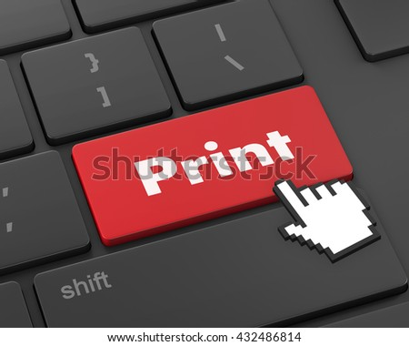 Print Button on Computer Keyboard. Internet Concept, 3d rendering - stock photo