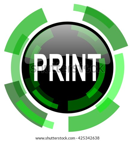 print icon, green modern design glossy round button, web and mobile app design illustration
