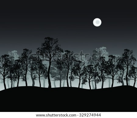 Print of group of trees on hill - stock photo