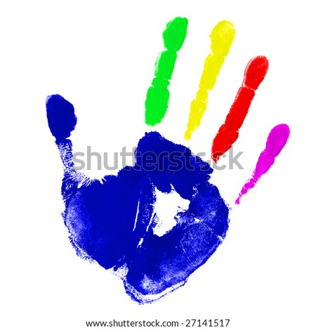 Print of hand with multicolor fingers