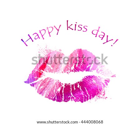 Print of pink lips. Lipstick kiss on white background. Card for International Kissing Day. Illustration with glamorous sensual red lips. Sexy kissing woman lips. Beautiful close up kiss icon. - stock photo