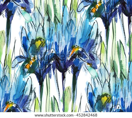 print seamless pattern with bouquet of blue irises on a white background, watercolor sketch - stock photo