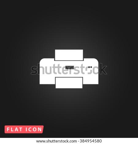 Print White flat icon on dark background. Simple illustration pictogram - stock photo