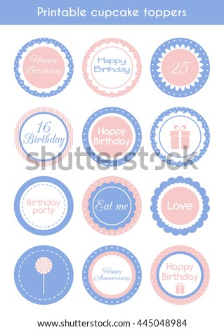 Printable cupcake toppers. Set of stickers, labels for birthday party. Raster version - stock photo