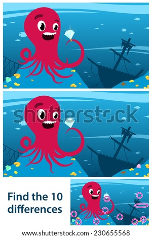 Printable game for children meant to stimulate intuitive learning by finding the differences between two similar drawings of an octopus looking at a gemstone, next to a wreck of a ship on the seabed - stock photo