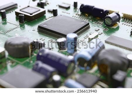 printed circuit board detail - stock photo