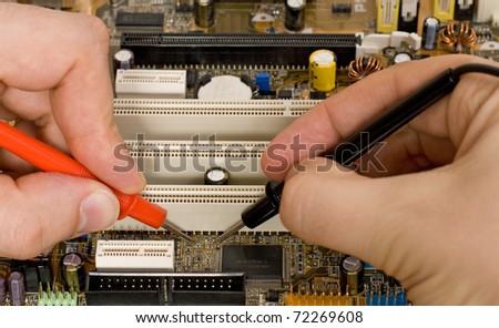 Printed circuit board diagnostics and measurement - stock photo