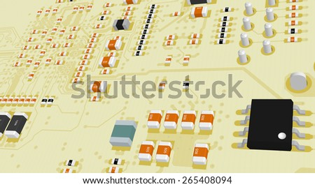 Printed Circuit Board yellow with resistors and capacitors and chips - stock photo