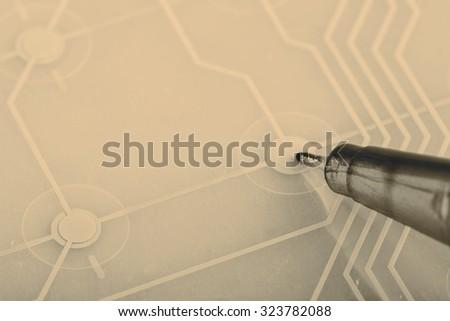 printed circuit - inside of keyboard - stock photo