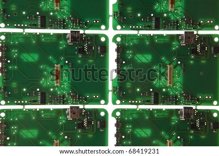 Printed circuit plate on white background. - stock photo