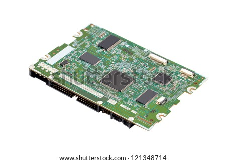 Printed computer circuit board from hard drive - stock photo
