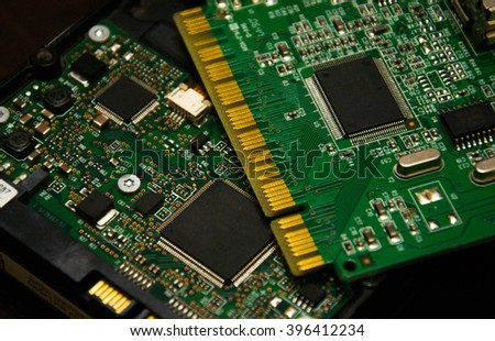 Printed computer motherboard - stock photo