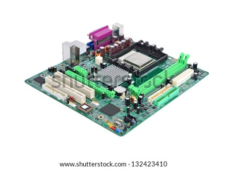 Printed computer motherboard board, isolated on a white background - stock photo