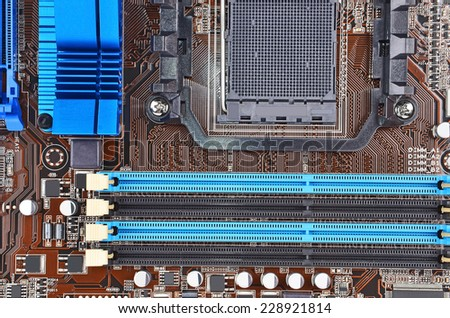 Printed computer motherboard, CPU socket, close up - stock photo