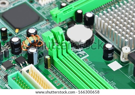 Printed computer motherboard with microcircuit, close-up