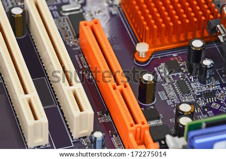 Printed computer motherboard with PCI connector slot