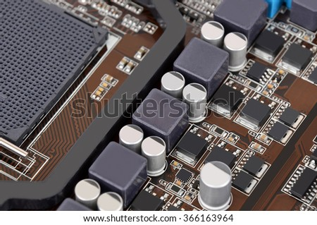 Printed computer motherboard, with semiconductor close up , DOF - stock photo