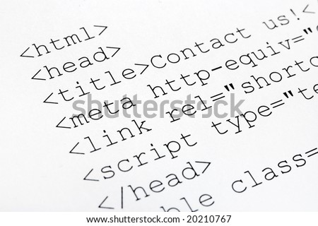 Printed internet html code, technology background