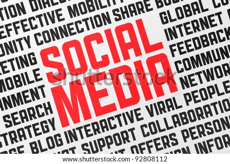 Printed poster with keywords on a social media theme. Closeup shot. - stock photo