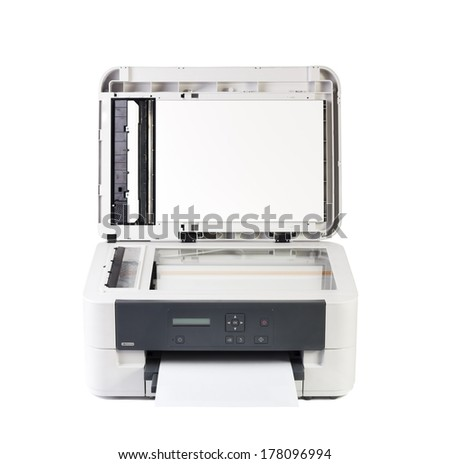 Printer and paper isolated on white background - stock photo