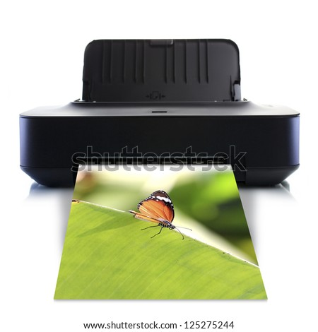Printer and picture with butterfly - stock photo