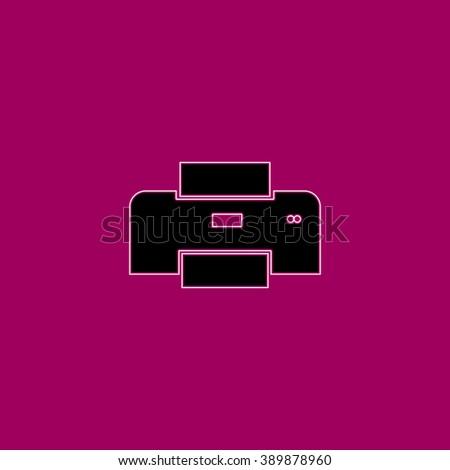 Printer. Black simple flat icon with white stroke - stock photo