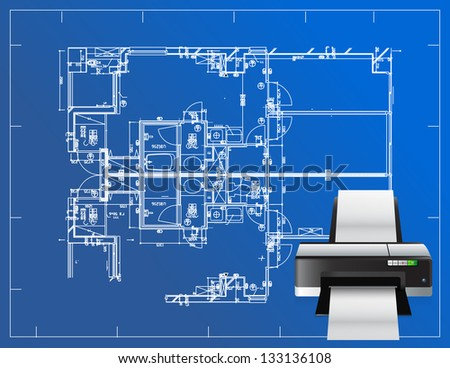 printer blueprint illustration business design concept graphic