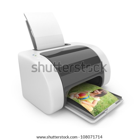 Printer 3D. Print  of photos. Icon isolated on white - stock photo