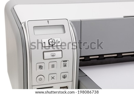 Printer for printing text closeup. Education and office. - stock photo