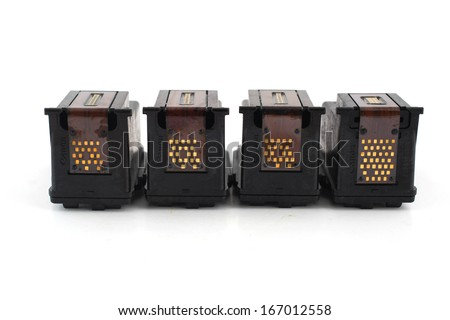 Printer Inkjet cartridges isolated on a white background - stock photo
