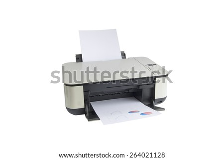 printer isolated on a white background - stock photo