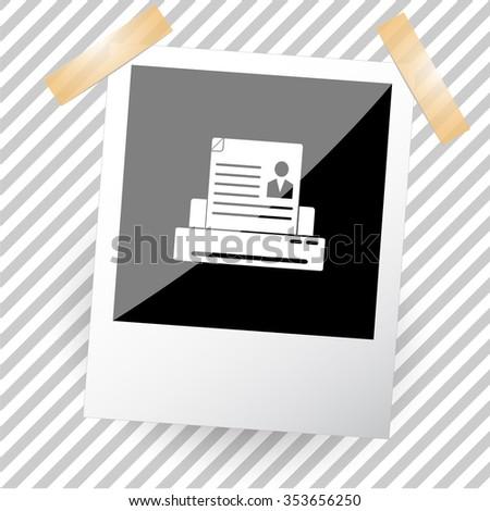 printer. Photoframe. Raster icon. - stock photo