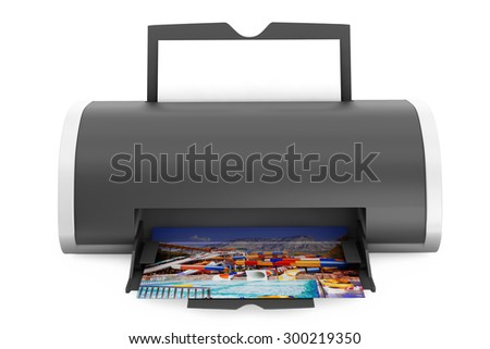 Printer Print of Photos on a white background - stock photo