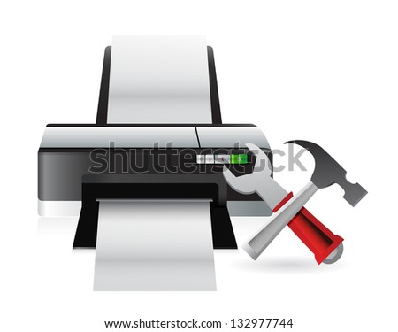printer setting tools illustration design over a white background