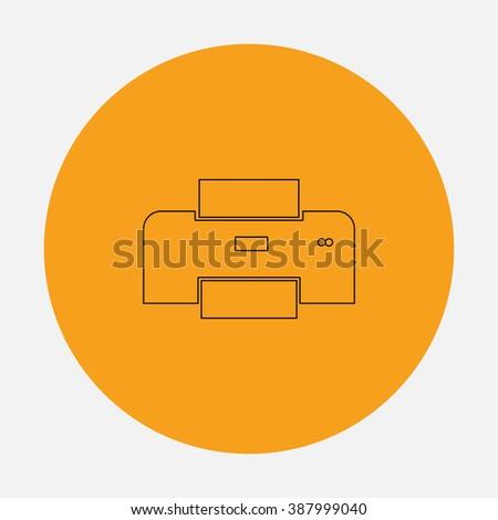 Printer. Simple flat icon on orange circle - stock photo