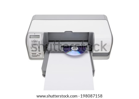 Printer with the ability to print on CDs. For offices. - stock photo
