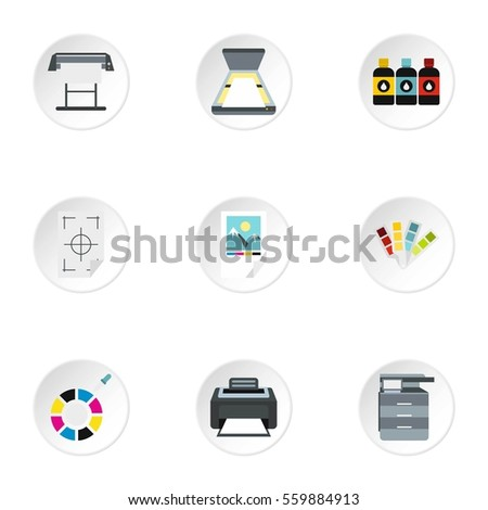 Printing icons set. Flat illustration of 9 printing  icons for web