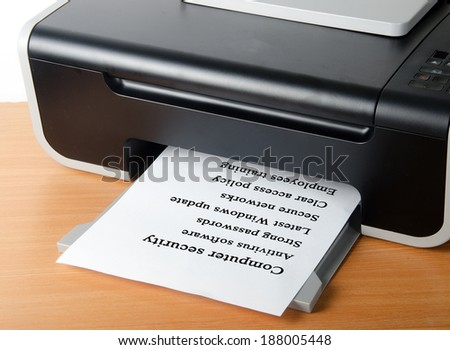 Printing list of computer security tips - stock photo
