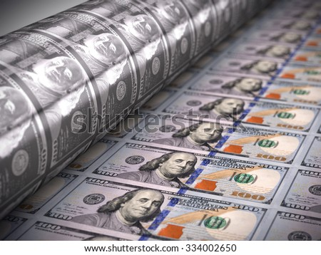 Printing money  - 100 dollar bills - stock photo