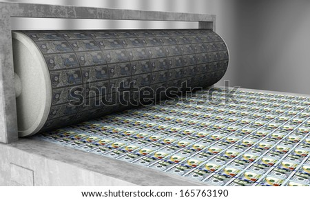 Printing Money New 100 Dollar Bills. (Animation for this image see in my footage gallery) - stock photo