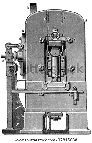 """printing press, front view - an illustration for article """"Equipment for the production of coins"""" of the encyclopedia publishers Education, St. Petersburg, Russian Empire, 1896 - stock photo"""
