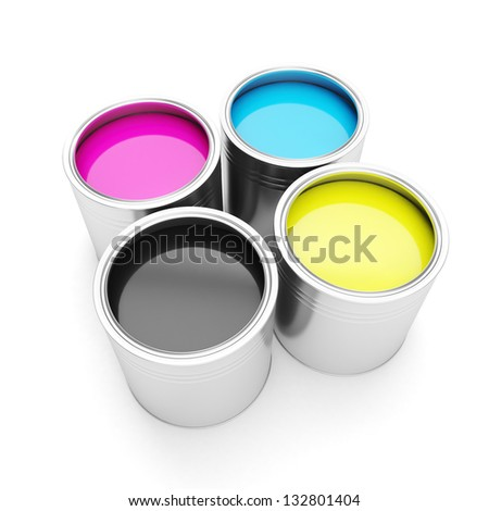 Printing technologies. CMYK colors, and four cans of paint on a white background - stock photo