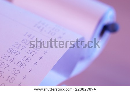 Printout of a calculator