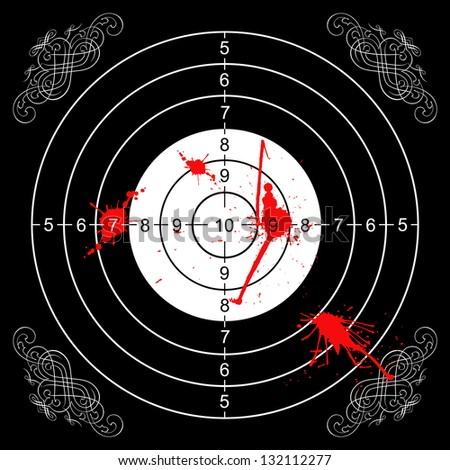printout of a wall target for shooting with some bloodstains and gothic decorations