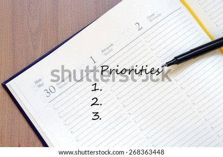 Priorities Concept In Yellow Blank Notepad On Office Wooden Table